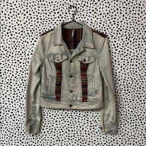 Free People Aztec Distressed Denim Jacket